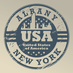 Grunge rubber stamp with name of New York, Albany, vector