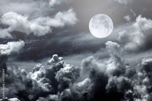 night sky with moon and clouds - 51516564