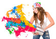Woman splashing colorful paint