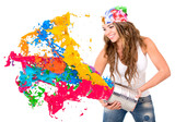 Woman splashing colorful paint