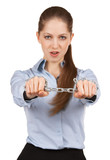 Woman holding a steel chain in his outstretched hands