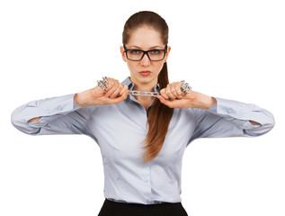 Woman trying to break a steel chain