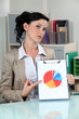 Woman with a pie chart