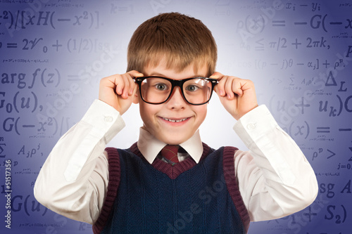 small kid prodigy on the formulas background
