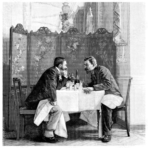 2 Men : Talking - end 19th century - 51517748
