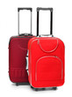 Two red travel bags on a white background.