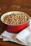 Bowl of dry uncooked chickpeas ready to be cooked