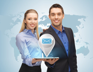 man and woman with virtual email sign