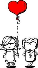Валентина каракули мальчик и девочка, векторные