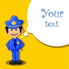 Мультфильм полицейский на желтом фоне с говорящими пузыря