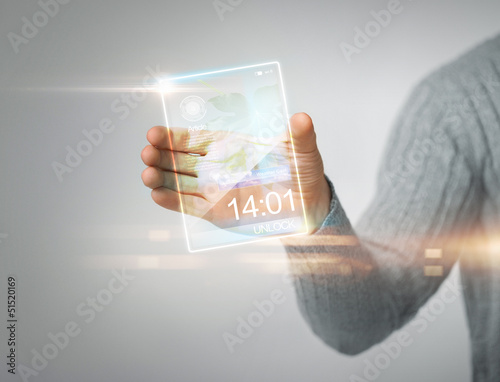 man holding transparent phone