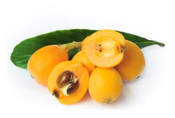 Loquat Fruit on White Background