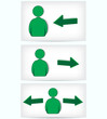 Green Signs.The direction of movement of people.