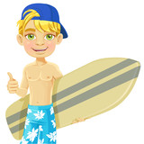 Teen boy with a surfboard isolated on a white background