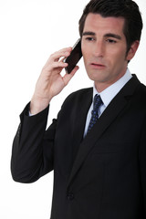 A businessman over the phone.