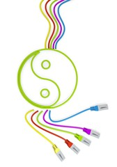 smart phone symbol with colourful network cable