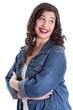 Witzige junge Frau isoliert in Jeans - Gesicht
