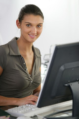 Young female receptionist