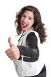 Erfolgreiche junge Frau mit Daumen isoliert