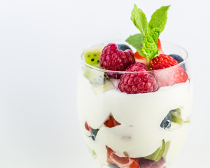 Mix fruit parfait for dessert