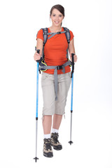 Woman preparing to go hiking