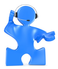 Headset. Puzzle People with headset. Blue.