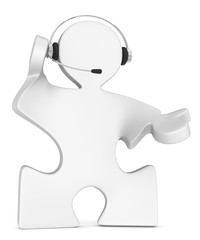 Solution. Puzzle People with headset. White.