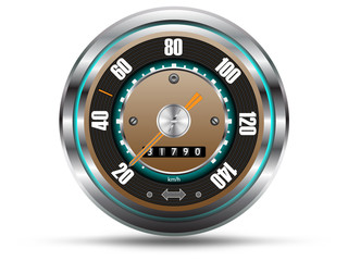 Retro style speedometer,  isolated on white,vector