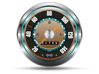 Retro style speedometer,  isolated on white,vector