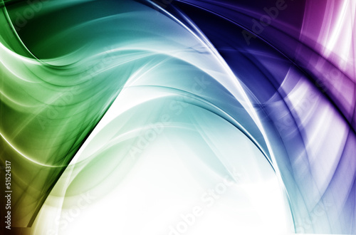 Abstract blue and green light waves on white background