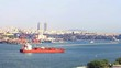 Bulk carrier ship sailing in front of Haydarpasa Seaport