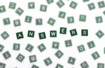 Answers - Clear Letters Against Blurred