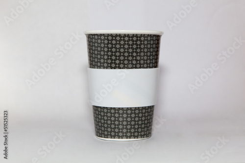 Take-out coffee in thermo cup. Isolated on a white.