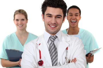 Doctor and nurses laughing