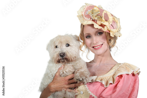 Romantic character with dog