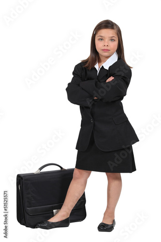 Girl dressed in black with a briefcase