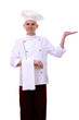 Portrait of chef holding something on his palm isolated on