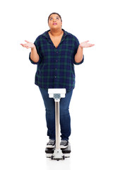 overweight young woman asking why when weighting herself