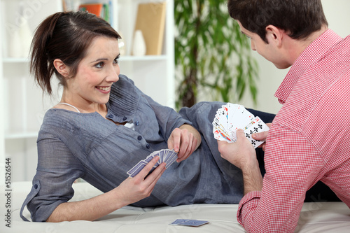 couple playing cards