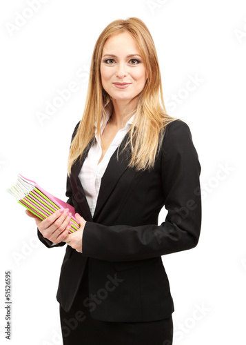 Portrait of teacher woman with notebooks, isolated on white