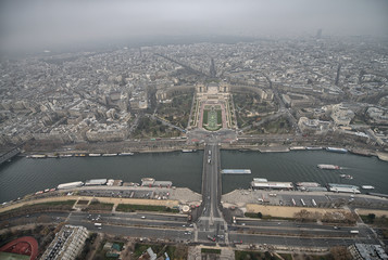 Gorgeous view of Paris from the top of Eiffel Tower in Winter