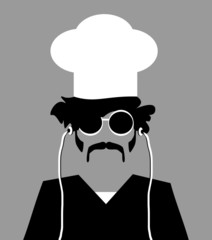 chef wearing earphones