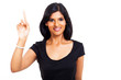 happy indian woman pointing up