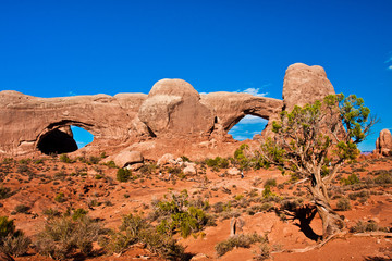 Double Window Arch in Arches National Park, Utah