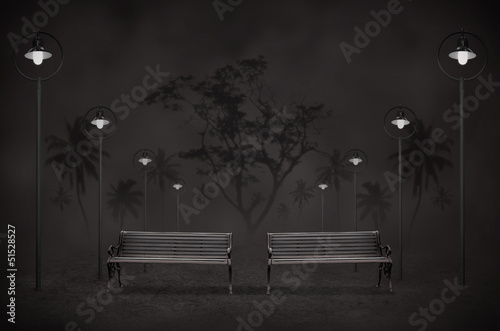night park with light and two bench