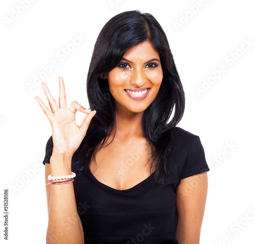 cheerful indian woman ok hand sign