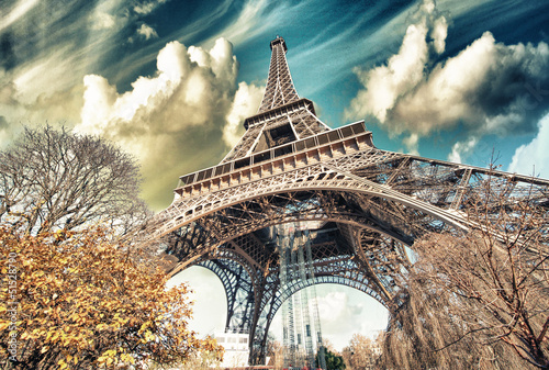 Wonderful street view of Eiffel Tower and Winter Vegetation - Pa - 51528790