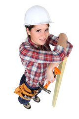 High-angle shot of a female construction worker