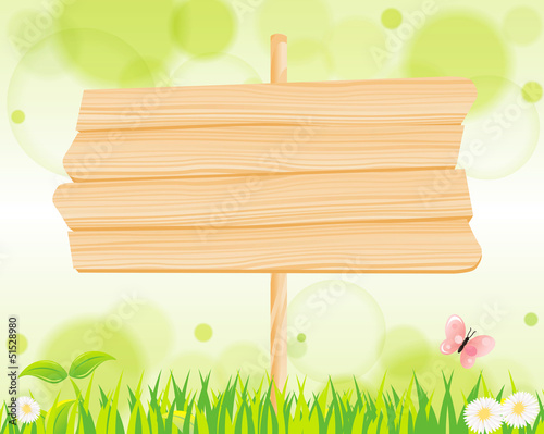 natural green background & wood sign Vector
