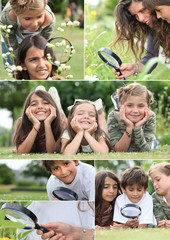 Montage of kids playing with magnifying glass